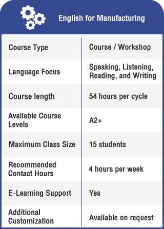 Anglokom Corporate Language Training Bangkok - English for Manufacturing